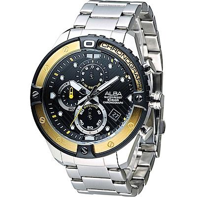 ALBA 雅柏 活力運動系列時尚三眼計時腕錶(AM3324X1)黑X金