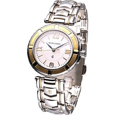 CHARRIOL夏利豪半金羅馬鍊帶腕錶-白x雙色版/35mm