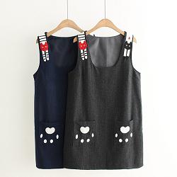 日系森女系貓爪貓咪背帶裙