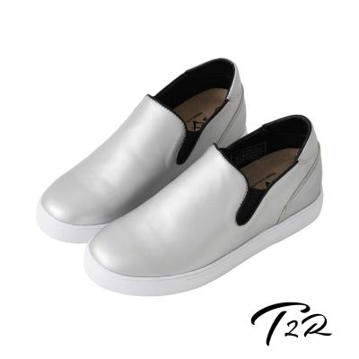 【T2R】韓國空運時尚皮質舒適內增高6公分樂福鞋-銀