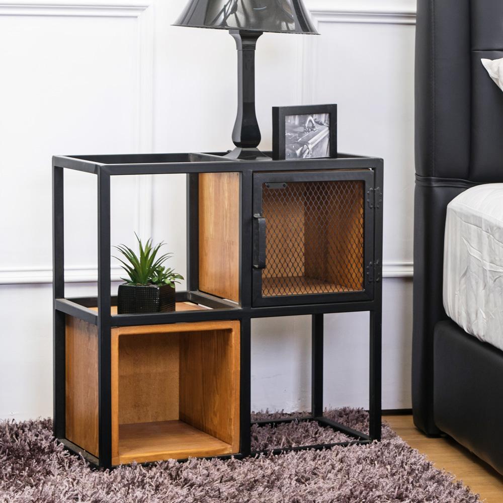 Boden-希德仿舊工業風開放式四格收納櫃/書櫃-60x30x60cm