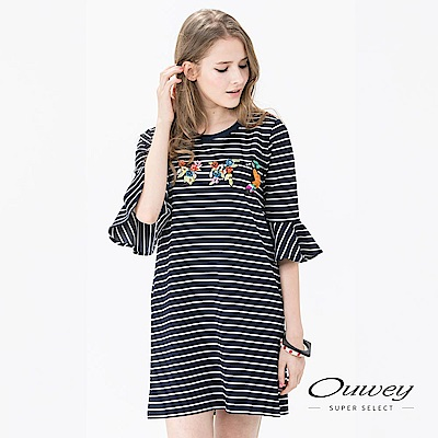 OUWEY歐薇 繽紛刺繡縫片印條洋裝(藍)