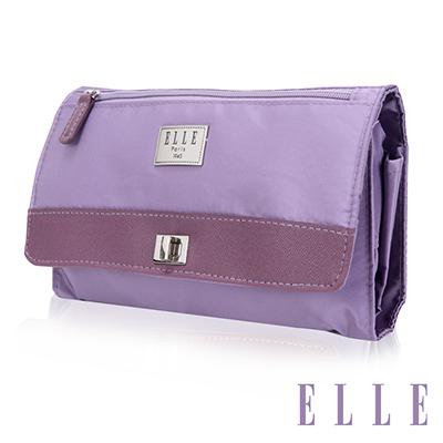 ELLE 法式優雅淑女 旅行掛勾收納 化妝 盥洗包-淺紫色