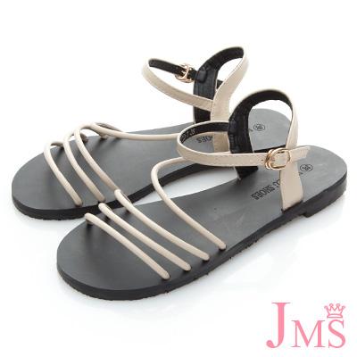 JMS-沁涼夏日優雅線條平底涼鞋-米色