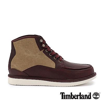 Timberland 男款深紅帆布拼接皮革中筒靴