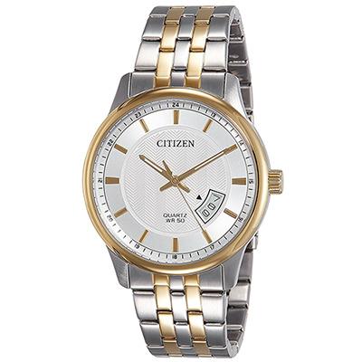 CITIZEN 鑲金不鏽鋼雙色石英男仕手錶(BI1054-80A)-白/40mm