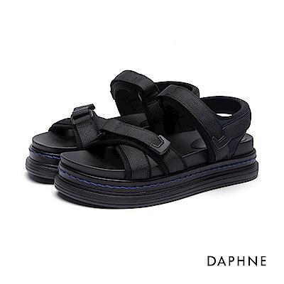 達芙妮DAPHNE 涼鞋-布面交叉寬帶魔鬼氈厚底涼鞋-黑