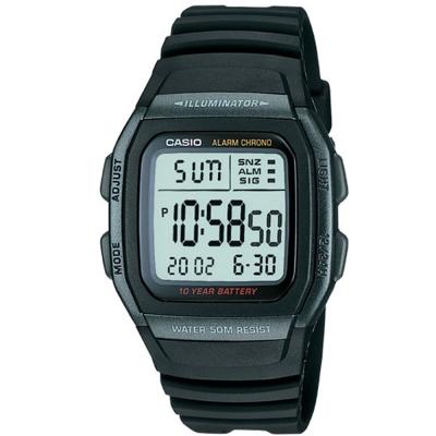 CASIO 樂活休閒運動數位錶(W-96H-1B)-黑框X黑/38mm