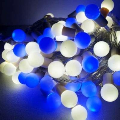 聖誕燈100燈LED圓球珍珠燈串(插電式/藍白光透明線/附控制器跳機)(高亮度又省電)