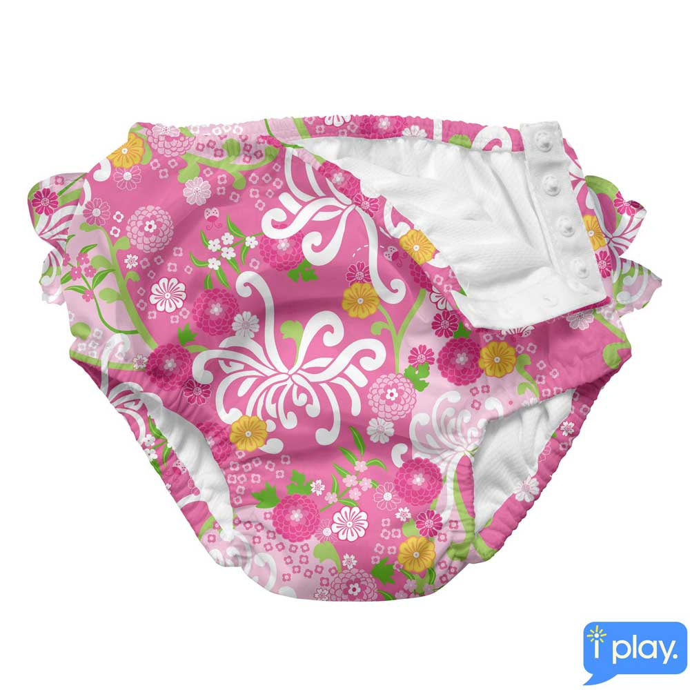 i play粉紅花卉款寶寶泳褲