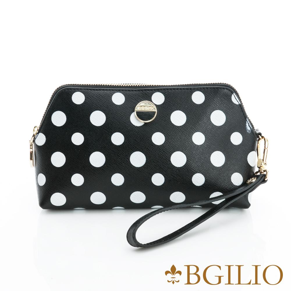 義大利BGilio-圓點造型十字紋牛皮小包-黑色1970.303-05