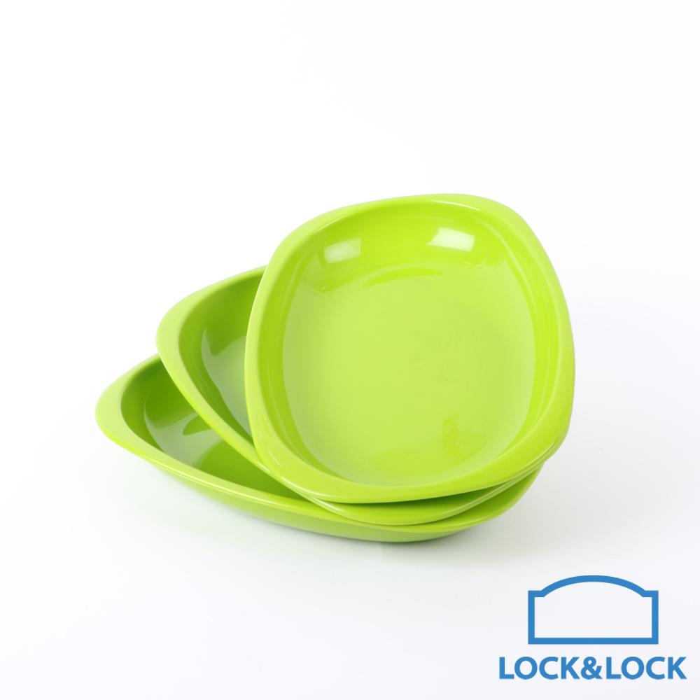 樂扣樂扣 P&Q PP彩虹疊疊樂橢圓餐盤3入組(綠)(快)