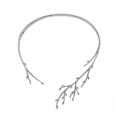 apm MONACO法國精品珠寶 閃耀銀色鑲鋯葉片開口式頸環項練