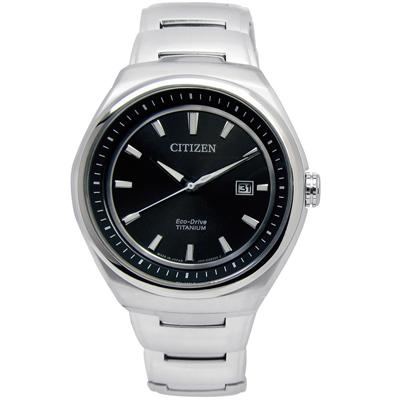 CITIZEN 簡約紳士光動能鈦金屬手錶(AW1251-51E)-黑色/43mm