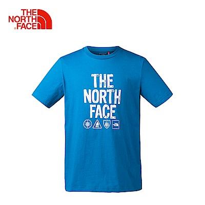The North Face北面男款藍色柔軟舒適短袖T恤