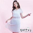 betty's貝蒂思 胸前綁結蕾絲花朵雪紡收腰洋裝(白色)