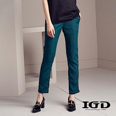 IGD英格麗 都會素面修身錐形九分褲-深綠