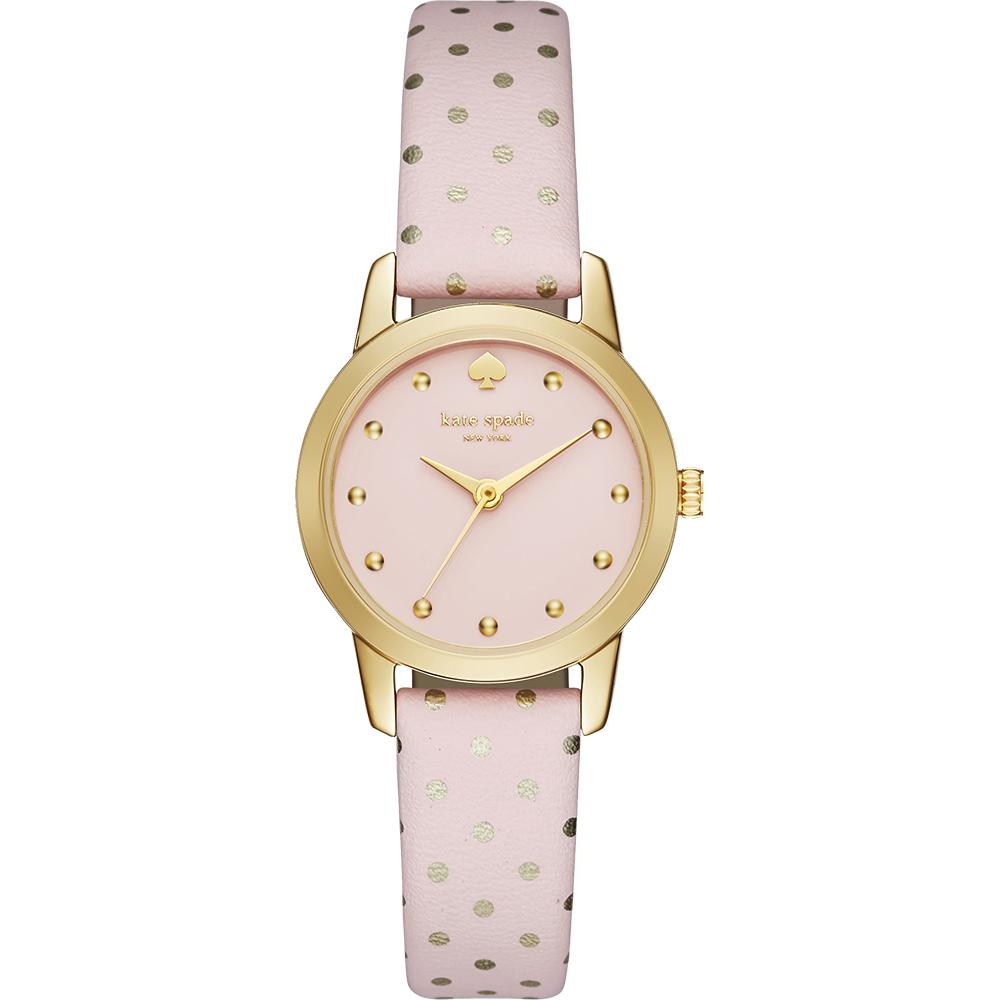 Kate Spade Metro 迷你點點時尚腕錶-粉紅x金框/25mm