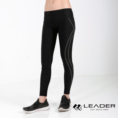 LEADER TN-363 高穩定壓縮運動長褲 九分褲 女款 黑底灰線