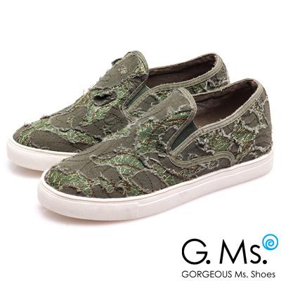 G.Ms. 魅力風采-丹寧車縫蕾絲布懶人休閒鞋-酷軍綠