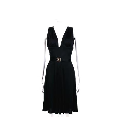 VERSACE 黑色金屬飾抓褶V領無袖洋裝