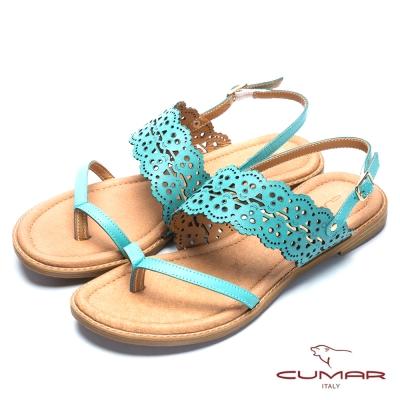 CUMAR氣質美人 典雅雕花平底夾腳涼鞋-綠色