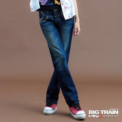 BIG TRAIN-女款 低腰彩色繡線垮褲-深藍