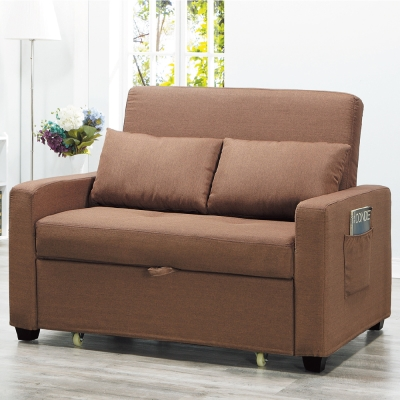 AS-班捷咖啡色沙發床-135x30x96cm