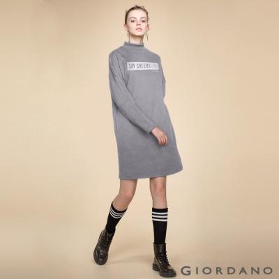 GIORDANO 女裝主題俏皮印花長袖長版連身洋裝 - 11 時尚灰
