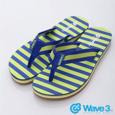 WAVE3【女】台灣製布織帶條紋人字夾腳拖~藍黃