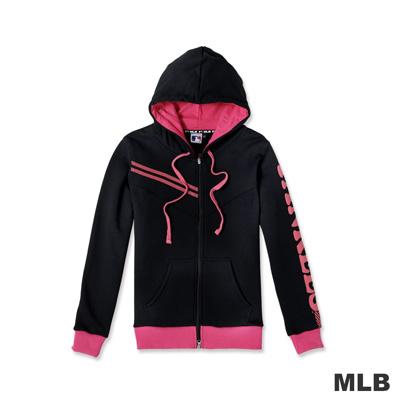MLB-紐約洋基隊運動連帽印花長袖外套-黑色-女