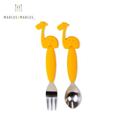 加拿大 MARCUS&MARCUS 動物樂園不鏽鋼叉匙餐具組(長頸鹿)