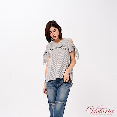 Victoria 綁帶袖變化挖肩短袖T-女-白色
