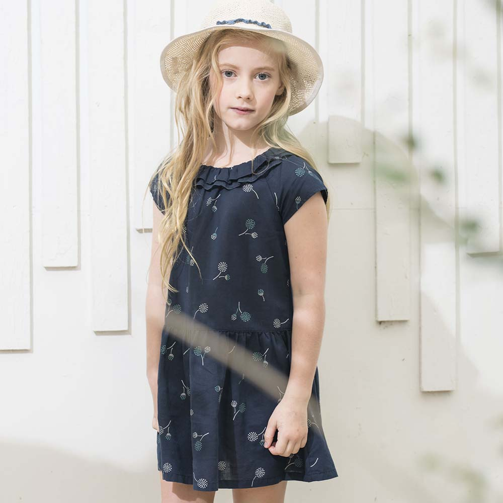PIPPY 連袖小蓋袖夏日清爽洋裝 藍