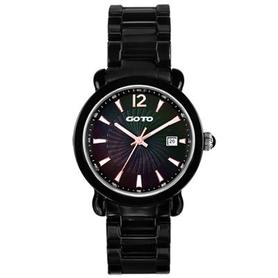 GOTO 躍動元素時尚陶瓷腕錶-黑x玫瑰金/40mm