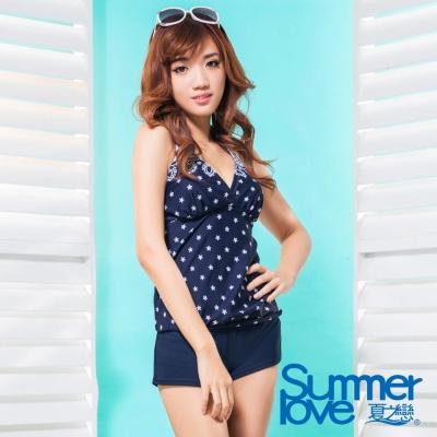 夏之戀SUMMERLOVE  大女長版V領印花三件式泳衣