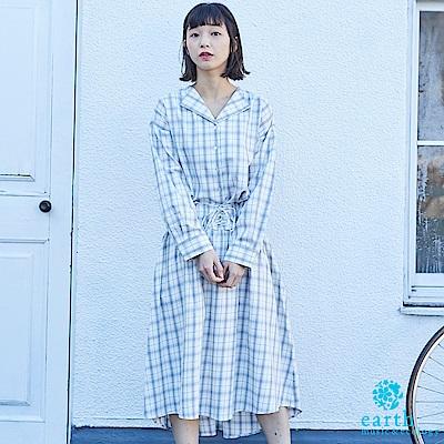 earth music SET ITEM 格紋棉質襯衫+蝴蝶綁帶中長裙
