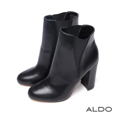 ALDO-絕美原色深V異材質粗高跟短靴-尊爵黑色