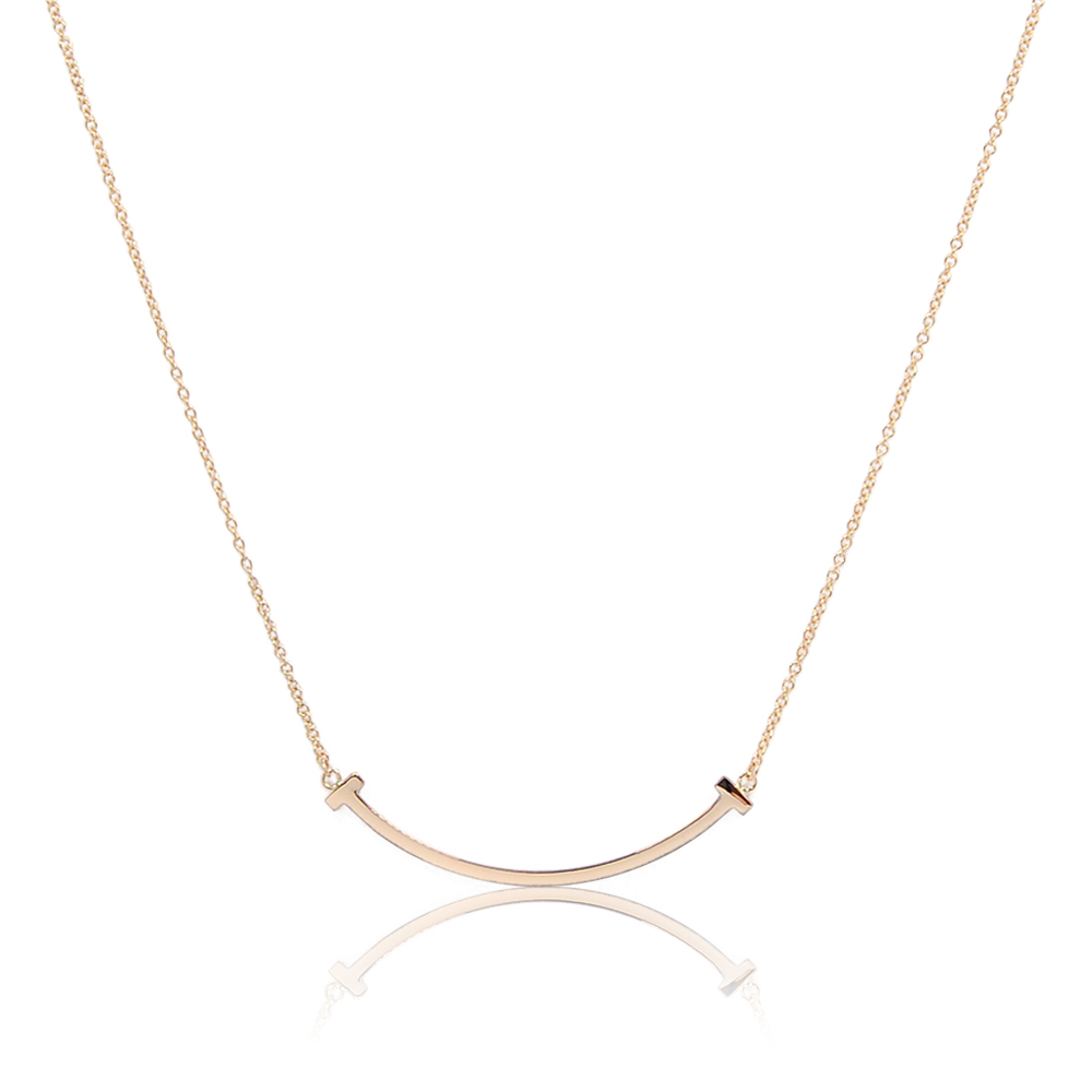 Tiffany&Co. T系列 微笑Smile 經典玫瑰金色項鍊