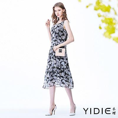 【YIDIE衣蝶】黑白水墨優雅花朵雪紡洋裝