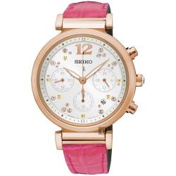 SEIKO精工 LUKIA 太陽能晶鑽計時女錶(SSC840J1)-銀/36mm
