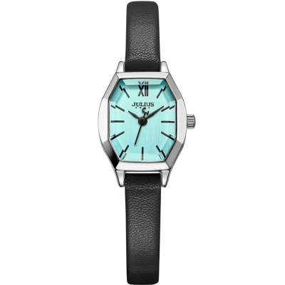 JULIUS聚利時 橡樹風情立體切割鏡面皮帶錶-綠x質感黑/20.5X18mm