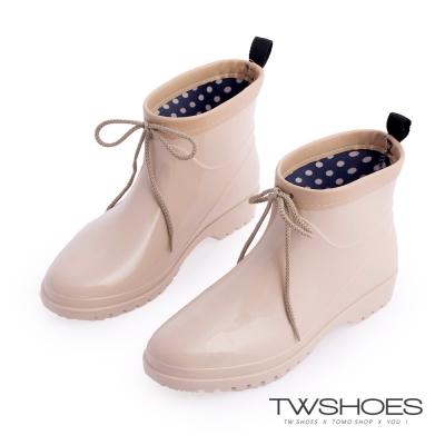 TW Shoes亮面伸縮鞋口卻爾西短雨鞋/雨靴-米
