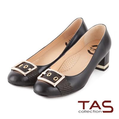 TAS-太妃Q系列-方型金屬蛇紋扣帶粗跟鞋-百搭黑