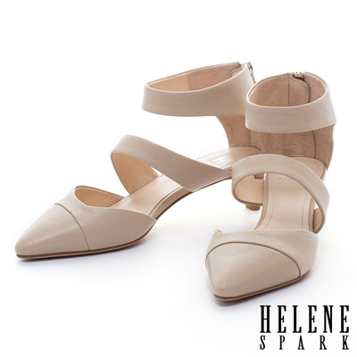 HELENE-SPARK-繫帶造型羊皮尖頭中跟鞋
