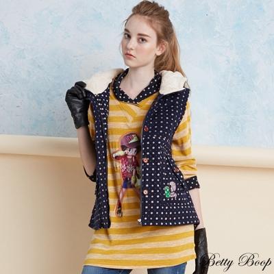 Betty Boop 點點鬆糕領條紋長版針織上衣(共二色)