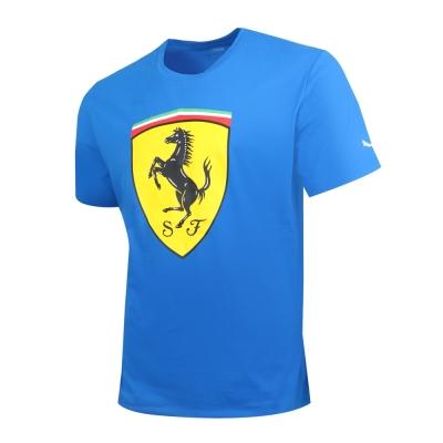PUMA-男性法拉利車迷系列大盾牌短袖T恤-寶石藍-歐規