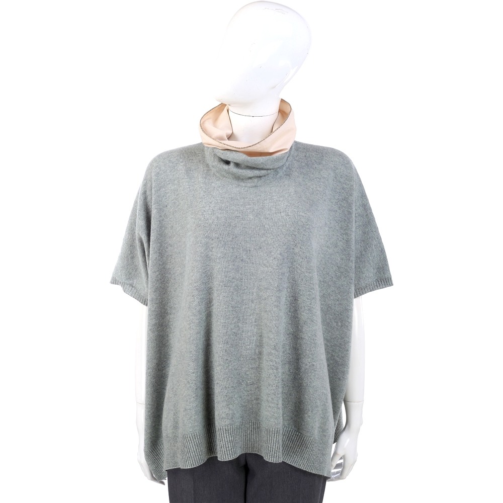 FABIANA FILIPPI 灰綠色拼接設計羊毛短袖上衣/斗篷(75%LANA)