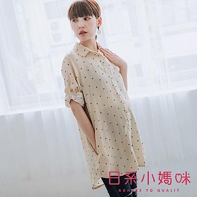 日系小媽咪孕婦裝-微透感雪紡點點襯衫上衣 (共二色)