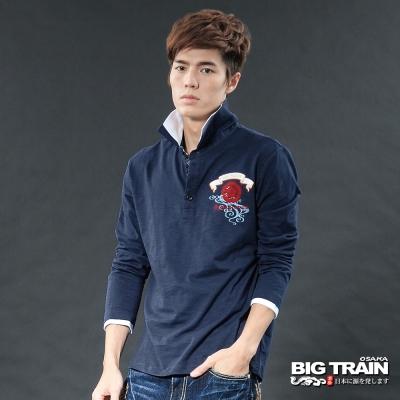BIG TRAIN-小金魚牡丹POLO衫男款-深藍
